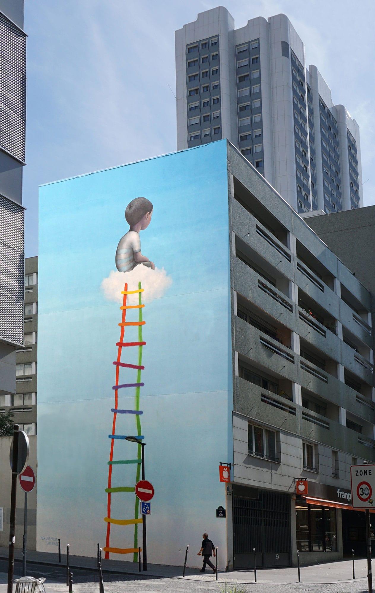"""The ladder,"" Place Bilal Berreni aka Zoo Project, Paris XX, 2019"
